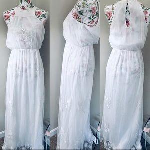 Kas New York white lace floor length dress
